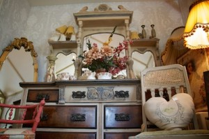 mirror backed sideboard hand painted in a french style
