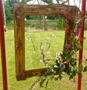 A floral frame created for a wedding at Stydd Gardens in the Ribble Valley