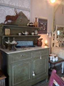 French marble top chiffonier in Annie Sloan Chateau Grey