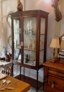 Antique Victorian bow fronted glass display cabinet