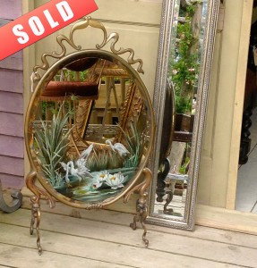 Vintage mirror fire screen
