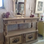 circa 1890 hand painted oak buffet with marble inner - After